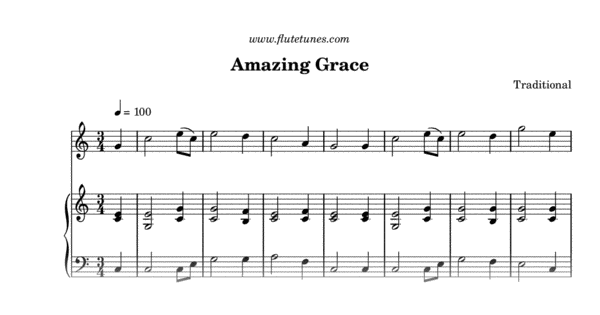 photo relating to Printable Flute Sheet Music named Outstanding Grace (Standard) - Absolutely free Flute Sheet Songs