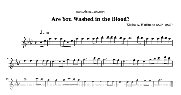 Are You Washed In The Blood Ea Hoffman Free Flute Sheet Music