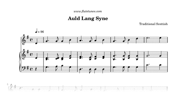 picture regarding Auld Lang Syne Lyrics Printable called Auld Lang Syne (Trad. Scottish) - Cost-free Flute Sheet Audio