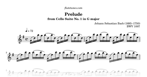 Prelude From Cello Suite No 1 In G Major Js Bach Free