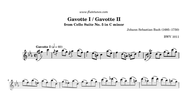 how to play bach no 5 in c minor gavotte