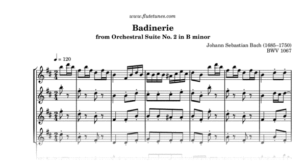analysis of badinerie by j s bach Described by ja scheibe as a perfect model of a well-designed solo concerto, bach's concerto after the italian style is not, as was once supposed, a reduction of a full keyboard concerto with orchestra, but rather an attempt at recreating the elements of concerto style in microcosm in a brilliant work for a solo instrument this work .