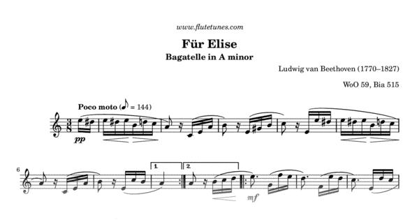 Fr Elise L Van Beethoven Free Flute Sheet Music Flutetunes