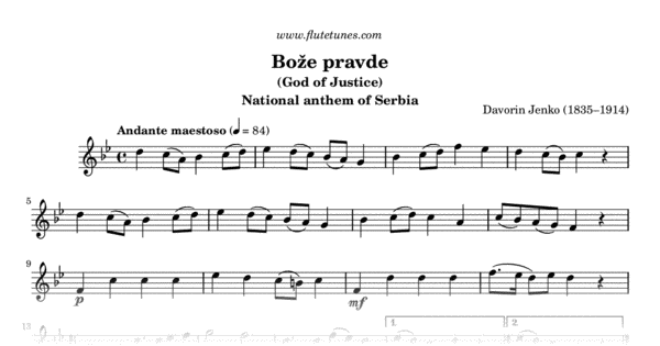 Bože pravde (D. Jenko) - Free Flute Sheet Music ...