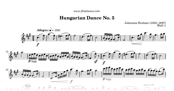 photograph relating to Printable Flute Sheet Music referred to as Hungarian Dance No. 5 against Ungarische Tänze (J. Brahms