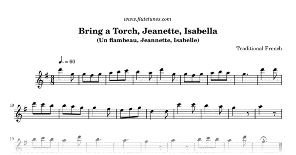 bring a torch jeanette isabella trad french free flute sheet music flutetunescom