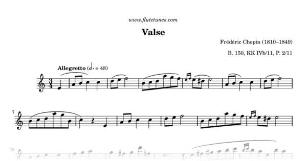 Valse In A Minor F Chopin Free Flute Sheet Music