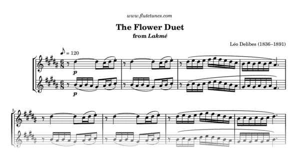 The Flower Duet from Lakmé (L  Delibes) - Free Flute Sheet Music