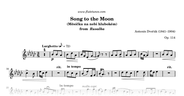 Song to the Moon (A  Dvořák) - Free Flute Sheet Music