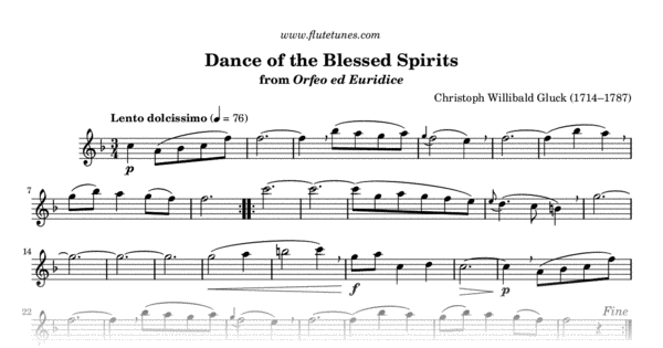 dance of the blessed spirits from orfeo ed euridice  c w