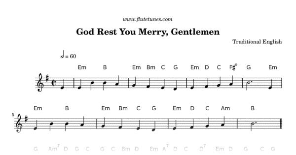 God Rest You Merry, Gentlemen (Trad. English) - Free Flute Sheet Music | flutetunes.com
