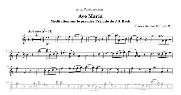 Ave Maria C Gounod Free Flute Sheet Music Flutetunes