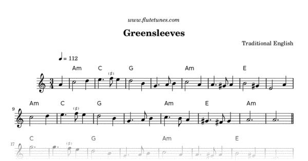Greensleeves Trad English Free Flute Sheet Music Flutetunes