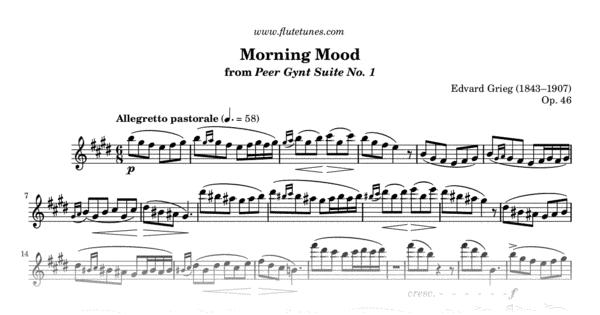 Morning Mood From Peer Gynt Suite No 1 E Grieg Free Flute Sheet Music Flutetunes Com