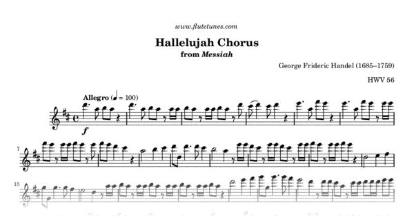 Hallelujah Chorus From Messiah Gf Handel Free Flute Sheet