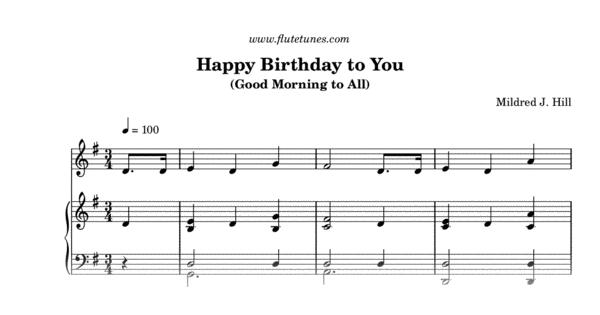 Happy Birthday To You M J Hill Free Flute Sheet Music Flutetunes Com