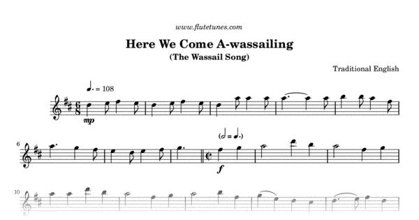 here we come a-wassailing (trad. english) - free flute sheet music    flutetunes.com  flute tunes