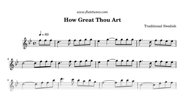 How Great Thou Art (Trad. Swedish) - Free Flute Sheet Music ...