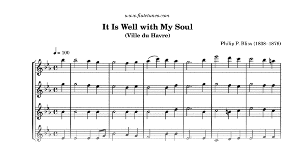 photograph about It is Well With My Soul Printable named It Is Effectively with My Soul (P.P. Bliss) - Absolutely free Flute Sheet