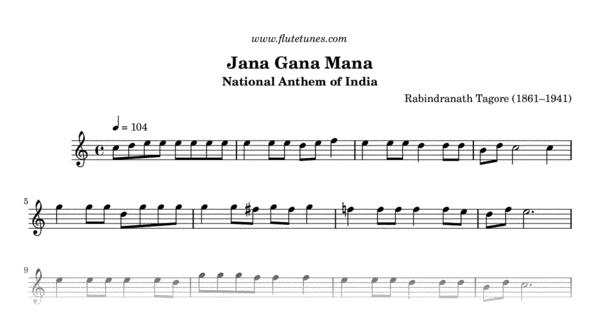 Jana Gana Mana R Tagore Free Flute Sheet Music Flutetunes Com Hindi retro instrumental flute playlist have 22 songs sung by praveen. flute tunes