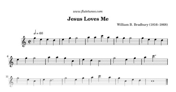 Jesus Loves Me (W.B. Bradbury) - Free Flute Sheet Music   flutetunes.com