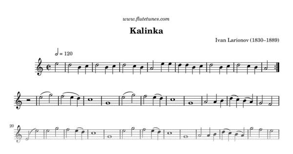 Kalinka (I  Larionov) - Free Flute Sheet Music | flutetunes com