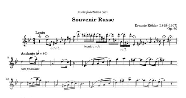partition flute traversiere souvenir russe