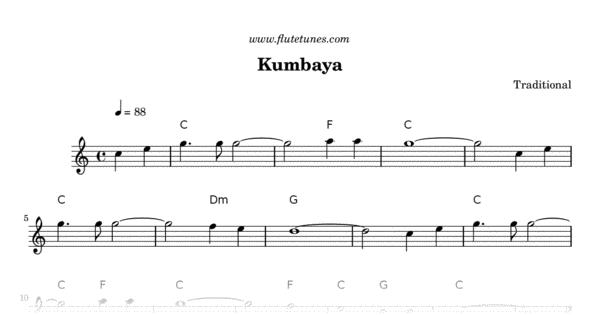 Kumbaya (Traditional) - Free Flute Sheet Music | flutetunes.com