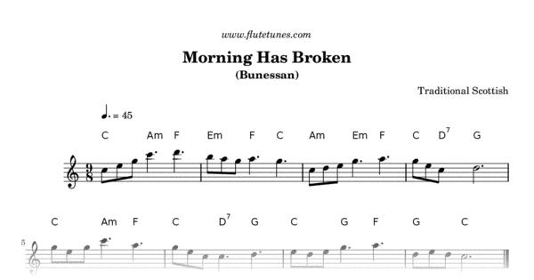 Morning Has Broken (Trad. Scottish) - Free Flute Sheet Music ...
