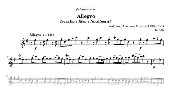 allegro from eine kleine nachtmusik w a mozart free flute sheet music. Black Bedroom Furniture Sets. Home Design Ideas