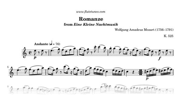 romanze from eine kleine nachtmusik w a mozart free flute sheet music. Black Bedroom Furniture Sets. Home Design Ideas