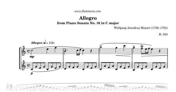 Allegro from Piano Sonata No  16 (W A  Mozart) - Free Flute