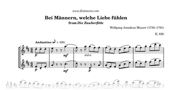 bei m u00e4nnern  welche liebe f u00fchlen from the magic flute  w a