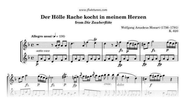 Der Hölle Rache Kocht In Meinem Herzen From The Magic Flute W A Mozart Free Flute Sheet Music Flutetunes Com