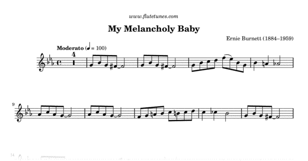 My Melancholy Baby (E  Burnett) - Free Flute Sheet Music