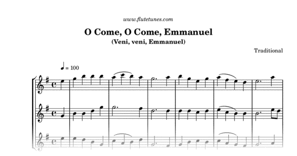 O Come O Come Emmanuel Traditional Free Flute Sheet Music