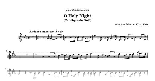 O Holy Night A Adam Free Flute Sheet Music Flutetunes