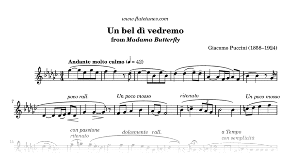 un bel d u00ec vedremo from madama butterfly  g  puccini