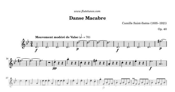danse macabre c saint sans free flute sheet music flutetunescom