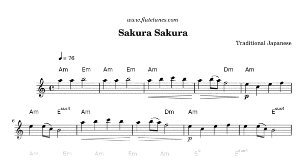 Sakura Sakura (Trad  Japanese) - Free Flute Sheet Music   flutetunes com