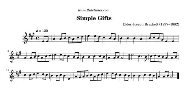 Simple Gifts J Brackett Free Flute Sheet Music Flutetunescom