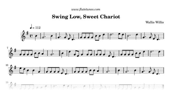 Swing Low Sweet Chariot W Willis Free Flute Sheet