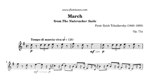 March from The Nutcracker Suite (P I  Tchaikovsky) - Free Flute