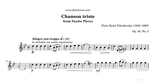 Chanson Triste From Twelve Pieces Pi Tchaikovsky Free