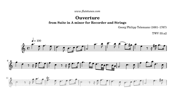 ouverture from suite in a minor for recorder and strings