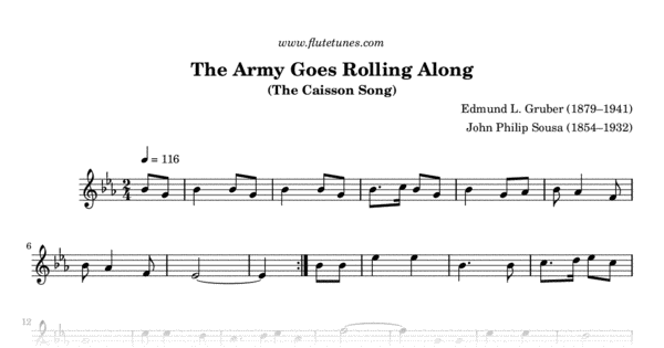The Army Goes Rolling Along (E L  Gruber) - Free Flute Sheet