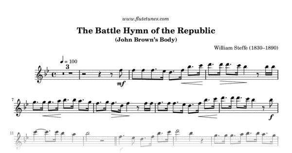 The Battle Hymn Of The Republic W Steffe Free Flute Sheet Music