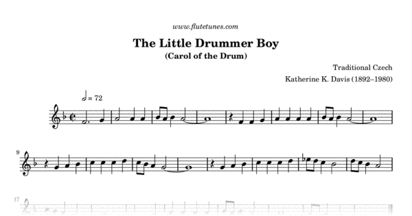 The Little Drummer Boy (Trad. Czech) - Free Flute Sheet Music ...