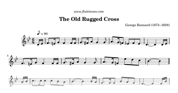 image about Old Rugged Cross Printable Sheet Music called The Aged Rugged Cross (G. Bennard) - Absolutely free Flute Sheet Songs