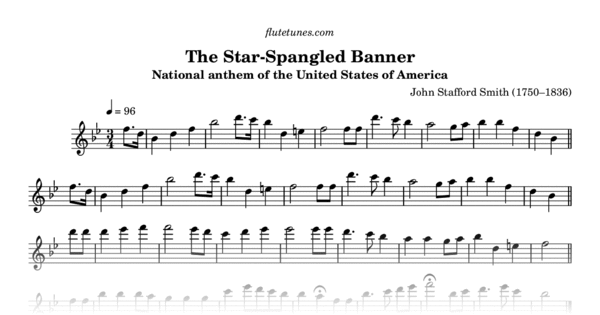 photograph relating to Star Spangled Banner Lyrics Printable titled The Star-Spangled Banner (J.S. Smith) - Totally free Flute Sheet